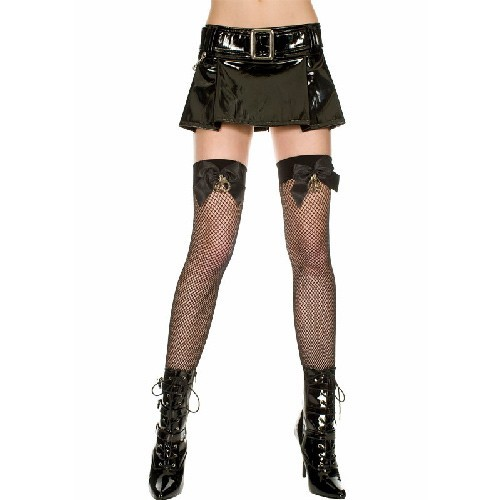 Fishnet & Handcuff Detail Thigh Hi - Black - O/S
