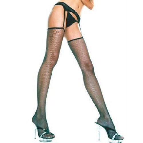 Fishnet Thigh Hi & Attached Garter Belt - Black - O/S