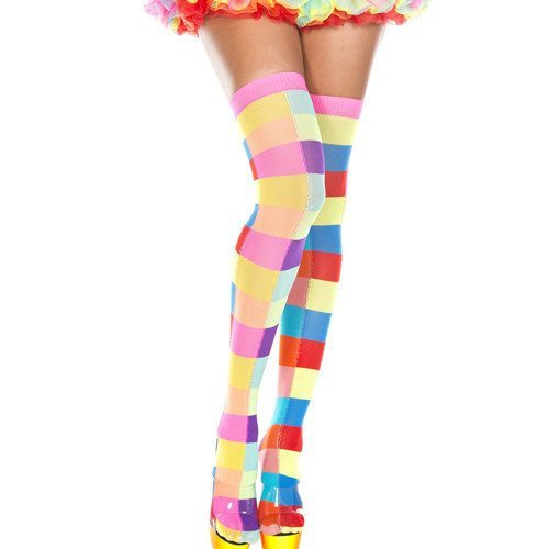 Neon Color Rectangle Checker Thigh Hi - O/S